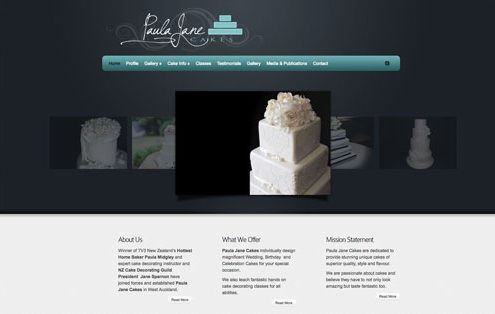 Image of the Paula Jane Cakes Website